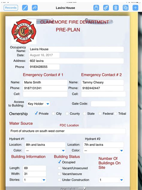 Fire Department Uses Formconnect App For Emergency Pre Planning Form Connections Department Pre Plan Template