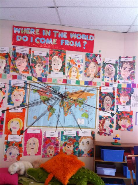 themes for college culturals map and placing children s portraits next to their family