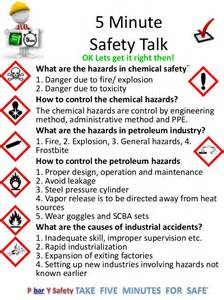 Minutesafety talkok lets get it right then what are the hazards in