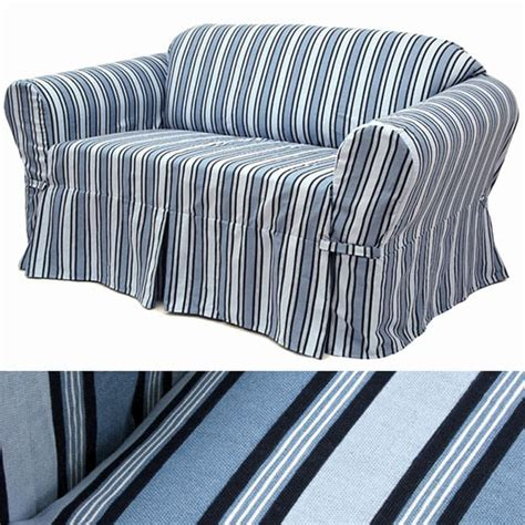 striped sofa covers sky stripe sofa slipcover 11130724 overstock