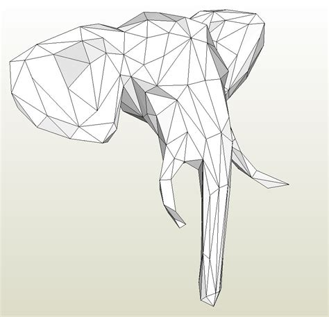 Elephant Papercraft - papercraft pdo file template for animal elephant
