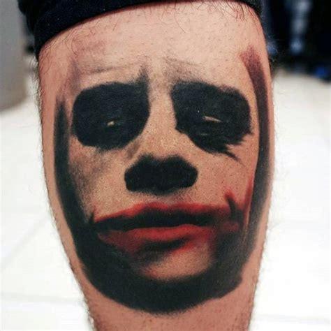 joker tattoo on calf 90 joker tattoos for men iconic villain design ideas