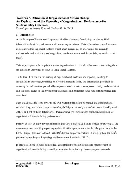 A Term Paper - term paper towards a definition of organizational