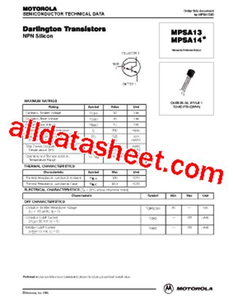 darlington transistor mpsa14 mpsa14 datasheet pdf motorola inc