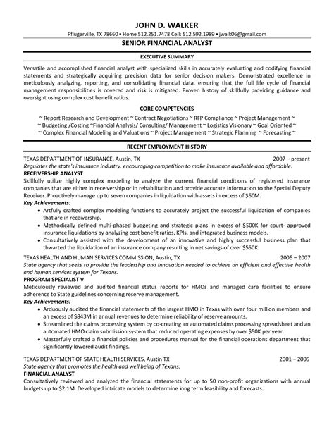 senior financial analyst resume financial analyst resume