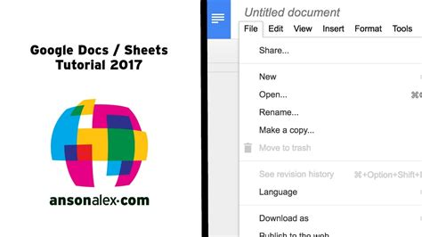 Google Docs And Sheets Tutorial 2017 Youtube 7 Does Docs