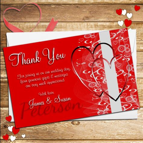 Wedding Cards Designer Vacancy by 10 Personalised Hearts Wedding Day Thank You Cards N125