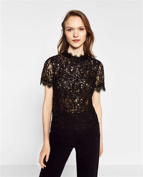 N1 Zara Tshirt Black Blouse embroidered lace t shirt view all tops collection ss 17 zara united states shop styles