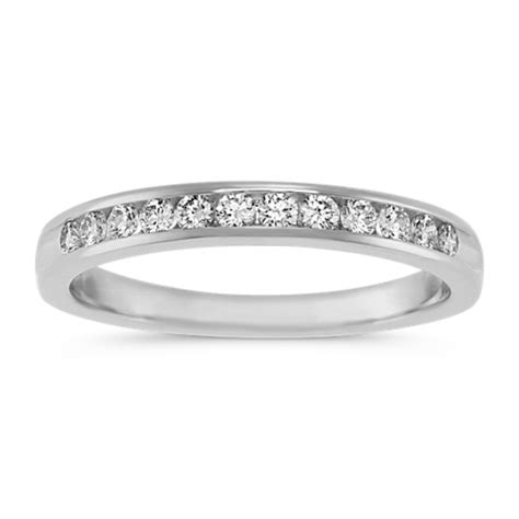 platinum engagement ring with channel setting