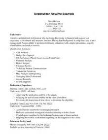 Underwriting Technician Cover Letter by Insurance Resume Insurance Underwriter Resume