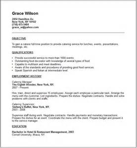 Catering Resume by Travel And Tourism Industry Resume Exles
