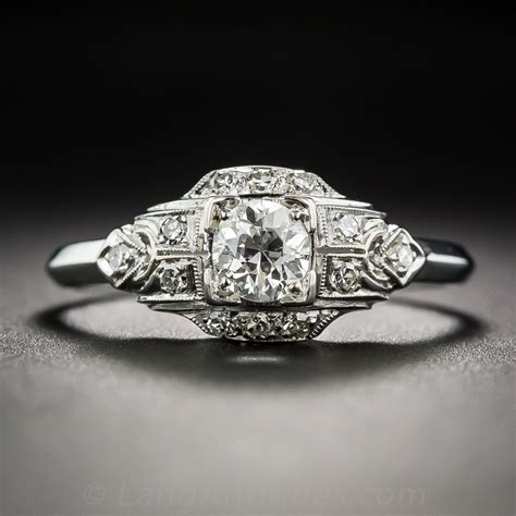 40 carat platinum deco engagement ring