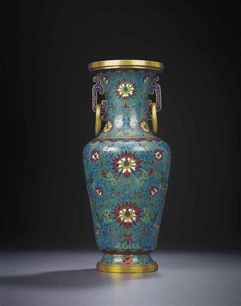 Qianlong Vase by An Imperial Cloisonne Enamel Lotus Baluster Vase