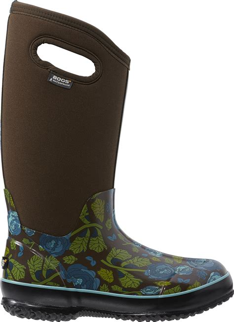 tall garden boots rose print insulated waterproof boots