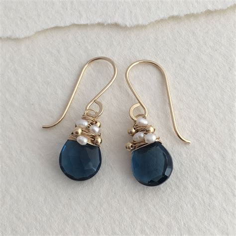Anting Bulu Silver Navy navy quartz woven pearl drops by hickey notonthehighstreet