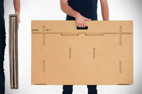 Cardboard Standing Desk by Refold Is A Foldable Portable 100 Recyclable Cardboard