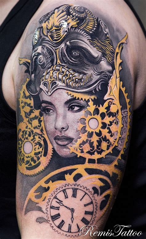 color realism tattoo black and grey color portrait by remis remistattoo