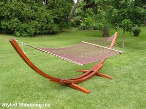 deluxe wood arc two person wood hammock stand brown hammock set ebay