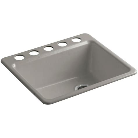 Kohler Undermount Kitchen Sink Kohler Riverby Undermount Cast Iron 25 In 5 Single Basin Kitchen Sink Kit With Basin Rack
