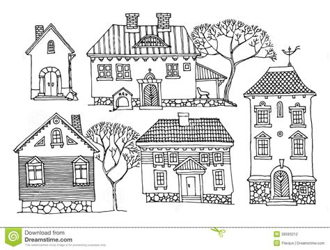 drawing cartoon houses cartoon houses stock vector illustration of pattern