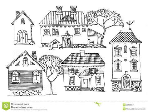 desenho de casas casas dos desenhos animados fotografia de stock imagem