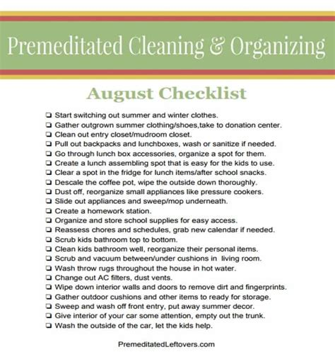 Actually Late Summer Cleaning by Late Summer Cleaning List With Printable Cleaning Checklist