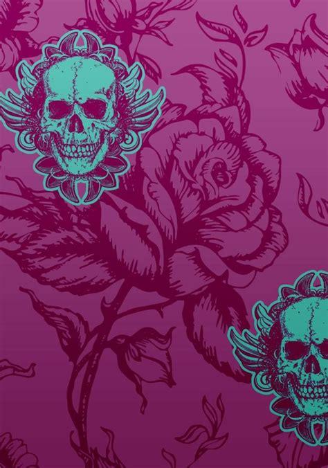 Tete De Lit Tapisserie 1128 by Skull Wallpaper Girly Skulls