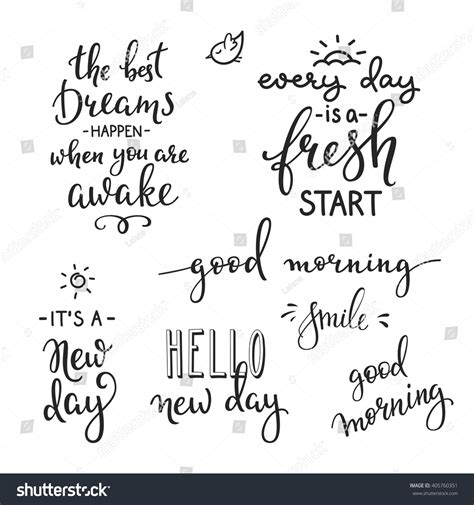lettering quotes set motivation life happiness stock vector  shutterstock