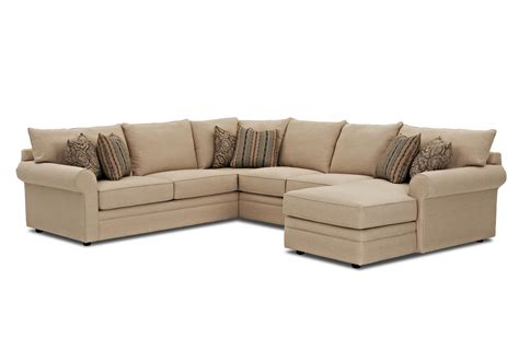 Klaussner Comfy Casual Sectional Sofa With Raf Chaise Value City Sectional Sofa