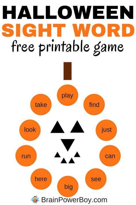 printable halloween games for preschoolers free printable sight word games halloween word games