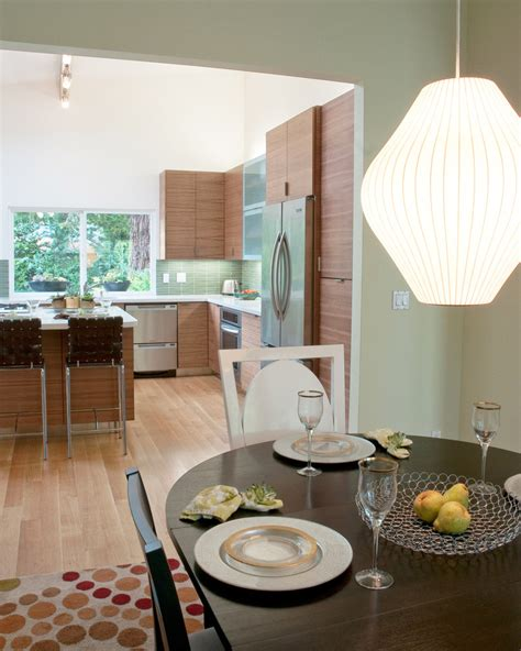 mid century kitchen cabinets Kitchen Modern with barstool