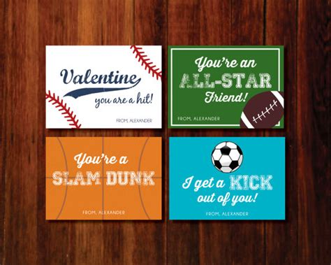 sports valentines cards printable cards sports baseball soccer