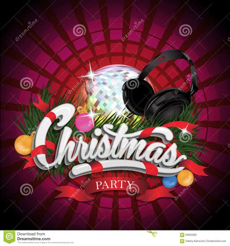 christmas party design with disco ball and stock vector