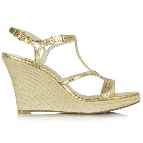 michael kors gold wedge sandals michael kors gold leather cicely wedge sandal