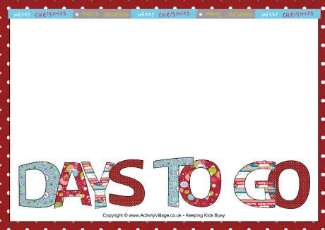 Advent Countdown Poster Printable Countdown Poster Template