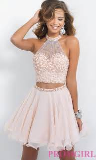 Short embellished two piece a line dress by blush