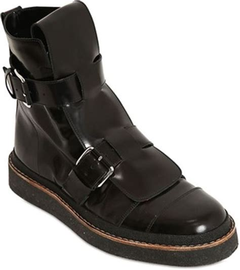 marni buckle leather combat boots in black for
