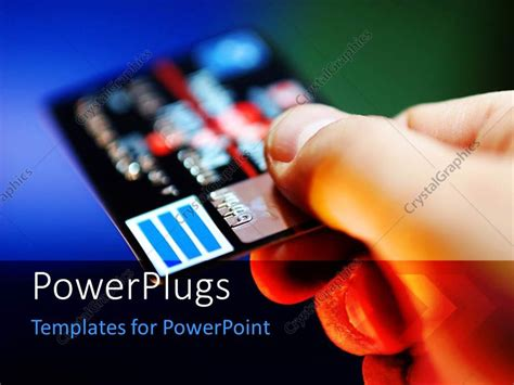 card powerpoint template powerpoint template holding credit card on blue and