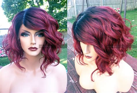 black at root of hair human hair blend short bob wine red swiss lace front part