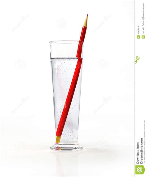 Tall Glass Of Water, With A Red Pencil Inside. Royalty