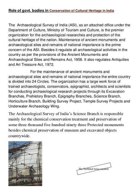 Cultural Heritage Essay by Essay Conservation Indian Heritage