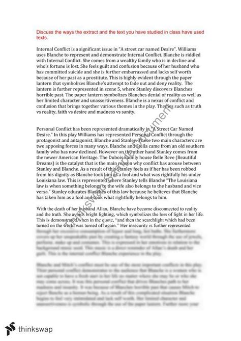 Streetcar Named Desire Essay by A Car Named Desire Essay Year 11 Hsc Standard Thinkswap