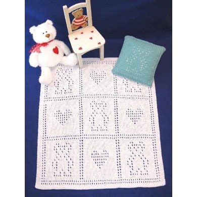 teddy bear blankie set knitting pattern by craft designs
