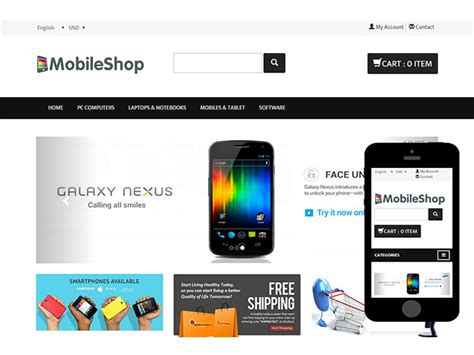 Mobileshop Ecommerce Bootstrap Web Template Bootstrap Shopping Cart Template Free