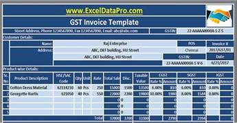 gst tax invoice template gst invoice excel template in compliance with gst