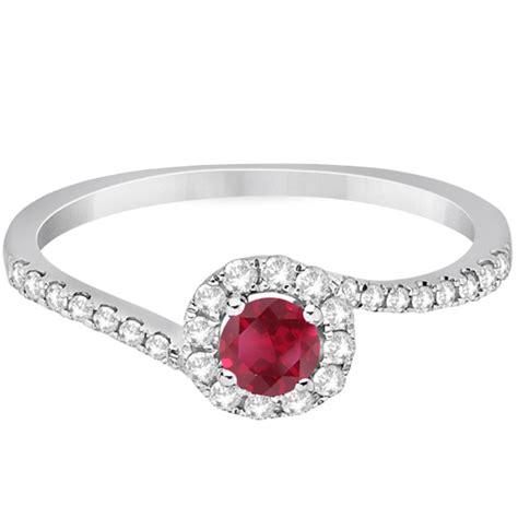 Ruby 3 65ct halo ruby engagement ring swirl 14k white gold 0
