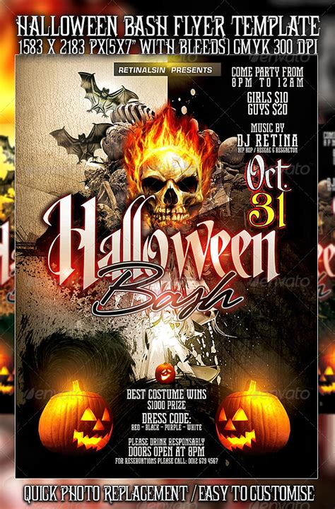10 Scary Halloween Flyer Templates Best Designers Bash Flyer Template V2