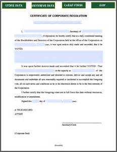 corporate resolution template certificate of corporate resolution free fillable pdf