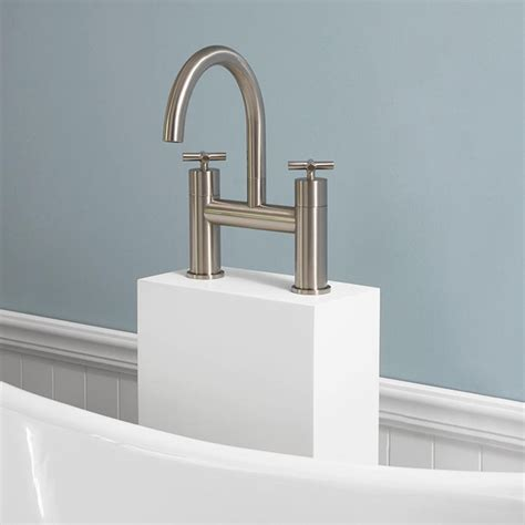 exira freestanding tub faucet with resin tower bathroom
