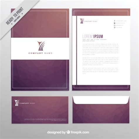 free business card letterhead envelope template design of business stationery vector free